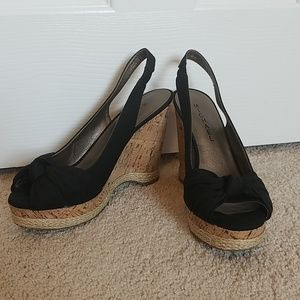 Michael Black Cork Wedges with Bow
